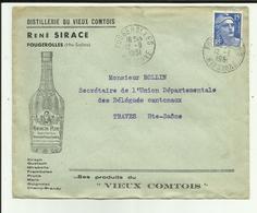 70 - Haute Saone - Fougerolles - Enveloppe René Sirace - Distillerie -   - Ref 26 - France