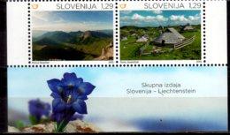 2015 Slovenia Alpine Habitat - Joint Issue W Lichtenstein 2v With Sheetlet Tab MNH** MiNr. 1164 - 1165 - Gemeinschaftsausgaben