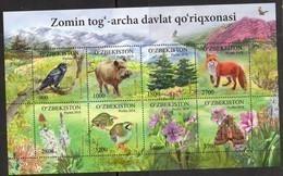 UZBEKISTAN, 2018, MNH, FAUNA AND FLORA, BIRDS, MOTHS, INSECTS, FOXES, WILD BOARS, MOUNTAINS, SHEETLET - Birds