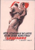 Lausanne 1937, Fête Fédérale De Lutte Et De Jeux Alpestres (1.8.37) 10x15 - VD Vaud