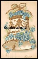 ALTE PRÄGE-POSTKARTE GLOCKE GESCHMÜCKT MIT BLUMEN Vergoldet Flowers Clarine Bell Cloche Ansichtskarte Postcard Cpa AK - Christianity