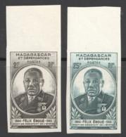 1945 Félix Eboué  Yv 298-9 ** Non-dentelés - Madagascar (1889-1960)