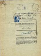 1936- Formulaire 13 P  Caisse D'Epargne-autorisation De Remboursement Partiel  Avec étiquette  N°16 Bleue - 1921-1960: Modern Period