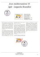 """"""" JEUX MEDITERRANEENS 93 AGDE """" Sur Document A4 1er Jour De 1993. N° YT 2795. Parfait état. FDC - Briefmarken"""