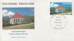 Enveloppe  FDC  1er  Jour  POLYNESIE   Temple  De  PAPETOAI   1986 - FDC