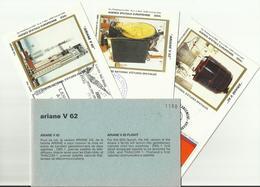 Lancement Fusée ARIANE V62 - 18/12/1993 - Pochette Lancement CNES - 4 Documents - CENTRE SPATIAL GUYANAIS - ESPACE - FDC & Gedenkmarken