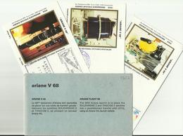 Lancement Fusée ARIANE V68 - 08/10/1994 - Pochette Lancement CNES - 4 Documents - CENTRE SPATIAL GUYANAIS - ESPACE - FDC & Gedenkmarken