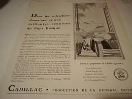 ANCIENNE PUBLICITE VOITURE  CADILLAC PAYS BASQUE 1930 - Cars