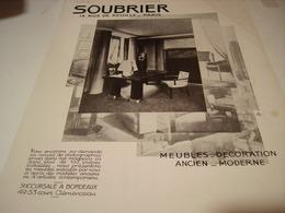 ANCIENNE PUBLICITE MAGASIN SOUBRIER SUCCURSALE BORDEAUX   1930 - Habits & Linge D'époque
