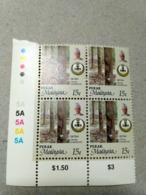 Malaysia 1986 1995  Agricultural Agro Perak Corner Block 4 15c Rubber P12 Wmk Upright Mnh Margin 1A 1A - Malaysia (1964-...)