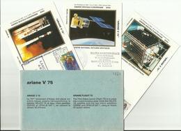 Lancement Fusée ARIANE V75 - 07/07/1995 - Pochette Lancement CNES - 4 Documents - CENTRE SPATIAL GUYANAIS - ESPACE - FDC & Gedenkmarken