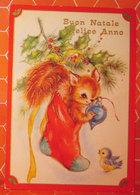 Auguri Buon Natale Anno Nuovo Calza Animali Cartolina Viaggiata - Natale