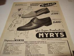 ANCIENNE PUBLICITE CHAUSSURE MYRYS  1957 - Habits & Linge D'époque