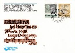Env Affr Y&T 59 + 63 Obl THORSHAVN Du 19.10.1981 - Pierres Runiques - Pages D'un Livre Consacré Aux îles - Islas Faeroes