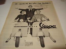 ANCIENNE  PUBLICITE  GILBERT BECAUD ET SCOOTER VESPA 1957 - Transports