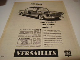 ANCIENNE PUBLICITE VOITURE VERSAILLE DE SIMCA 1957 - Cars