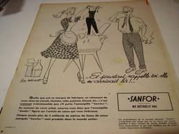 ANCIENNE AFFICHE  PUBLICITE SANFOR NE RETRECIT PAS 1954 - Habits & Linge D'époque