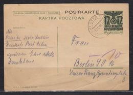 II. WK Generalgouvernement Ganzsache MiNo. P I O Piaski über Lublin 12.12.40, Bedarfsstück (50.-) - Besetzungen 1938-45