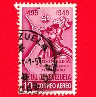 VENEZUELA - Usato - 1950 - Alonso De Hojeda, Scopritore Del Lago Di Maracaibo - 10 - P. Aerea - Venezuela