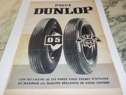 ANCIENNE PUBLICITE PNEU DUNLOP 1956 - Transports