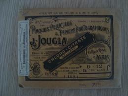 POCHETTE ANCIENNE DE PLAQUES PELLICULES & PAPIERS PHOTOGRAPHIQUES J. JOUGLA - Materiaal & Toebehoren