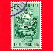VENEZUELA - Usato - 1953 - Stemma Dello Stato Di Cojedes - Arms - Mucche - 5 - Venezuela