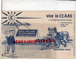 94- VINCENNES- RARE BUVARD VIVE LA CLAAS-COMPAGNIE EUROPEENNE MACHINISME AGRICOLE-MOISSONNEUSE BATTEUSE-AGRICULTURE - Farm
