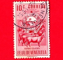 VENEZUELA - Usato - 1953 - Stemma Dello Stato Di Cojedes - Arms - Mucche - 10 - Venezuela