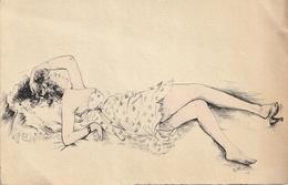DESSIN Original - Femme Allongée - Documentos Antiguos