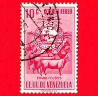 VENEZUELA - Usato - 1953 - Stemma Dello Stato Di Cojedes - Arms - Mucche - 10 - P. Aerea - Venezuela