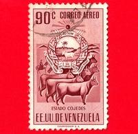 VENEZUELA - Usato - 1953 - Stemma Dello Stato Di Cojedes - Arms - Mucche - 90 - Posta Aerea - Venezuela