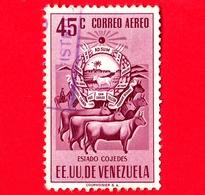 VENEZUELA - Usato - 1953 - Stemma Dello Stato Di Cojedes - Arms - Mucche - 45 P. Aerea - Venezuela