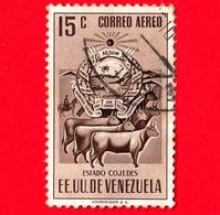 VENEZUELA - Usato - 1953 - Stemma Dello Stato Di Cojedes - Arms - 15 - P. Aerea - Venezuela