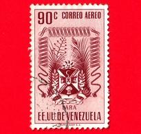 VENEZUELA - Usato - 1952 - Stemma Dello Stato Di Lara - Arms - 90 P.aerea - Venezuela