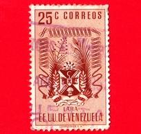 VENEZUELA - Usato - 1952 - Stemma Dello Stato Di Lara - Arms - 25 - Venezuela