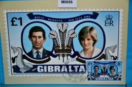 M0656 FDC Hochzeit Prinz Charles U. Lady Diana, Wedding, Mariage, Boda, Royals, Gibraltar, GI 1981 - Gibraltar