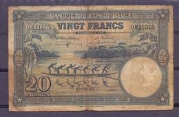 Belgian Congo Kongo 20 Fr 1946  VG - Billets