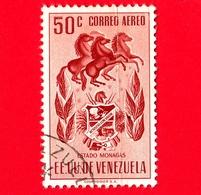 VENEZUELA - Usato - 1953 - Stemma Dello Stato Di Monagas - Arms - 50 - P. Aerea - Venezuela