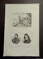 Ancienne  Gravure  La France Pittoresque XIXème: TOUR AGNES SOREL à LOCHES -Portraits RABELAIS Et DESCARTES - Prints & Engravings