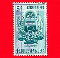 VENEZUELA - Usato - 1953 - Stemma Dello Stato Di Nueva Esparta - Arms - 5 - P. Aerea - Venezuela
