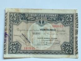 Billete 25 Pesetas. 1937. Bilbao. República Española. Guerra Civil. Sin Serie. Caja De Ahorros Vizcaína - [ 2] 1931-1936 : Repubblica