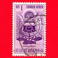 VENEZUELA - Usato - 1953 - Stemma Dello Stato Di Nueva Esparta - Arms - 1 - P. Aerea - Venezuela