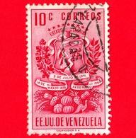 VENEZUELA - Usato - 1951 - Stemma Dello Stato Di Tachira - Arms - 10 - Venezuela