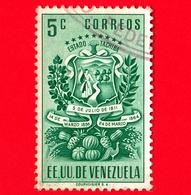 VENEZUELA - Usato - 1951 - Stemma Dello Stato Di Tachira - Arms - 5 - Venezuela