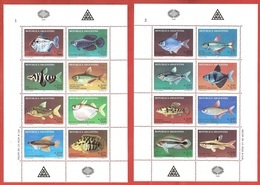 ARGENTINA MNH - 1987 Argentine Philately - River Fish - 8 X 0,10+0,05 + 8 X 0,20+0,10 ₳  Austral - Michel AR 1871-1886KB - Blocchi & Foglietti
