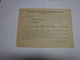 REGIO ESERCITO ITALIANO  -  M.V.S.N.  -- COMANDO 1° LEGIONE MILIZIA ARTIGLIERIA MARITTIMA -- VENEZIA - Documenti