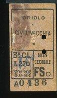 TR37 RARO  BIGLIETTO FS ORIOLO CIVITAVECCHIA FERROVIA CIVITAVECCHIA ORTE CON PUB.AL RETRO - Treni
