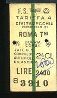 TR39  BIGLIETTO FS 1980  CIVITAVECCHIA ROMA TERMINI 2° CLASSE A/R CON RIDUZIONE - Treni