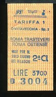 TR40  BIGLIETTO FS 1987  CIVITAVECCHIA ROMA TRASTEVERE ROMA OSTIENSE 2° CLASSE - Treni