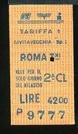 TR41  BIGLIETTO FS 1987  CIVITAVECCHIA ROMA TERMINI 2° CLASSE - Europe